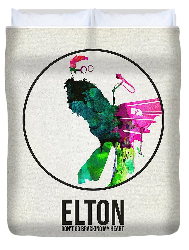 Elton John Duvet Cover featuring the digital art Elton Watercolor Poster by Naxart Studio