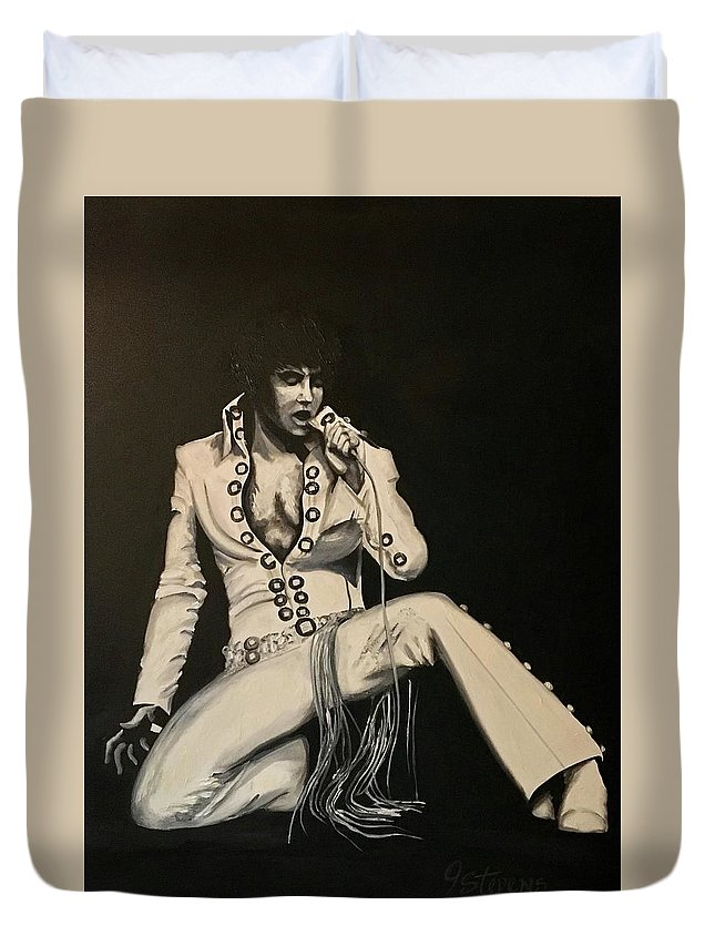 Elvis Duvet Cover featuring the painting Elvis 1970 - Concho Suit by John Stevens