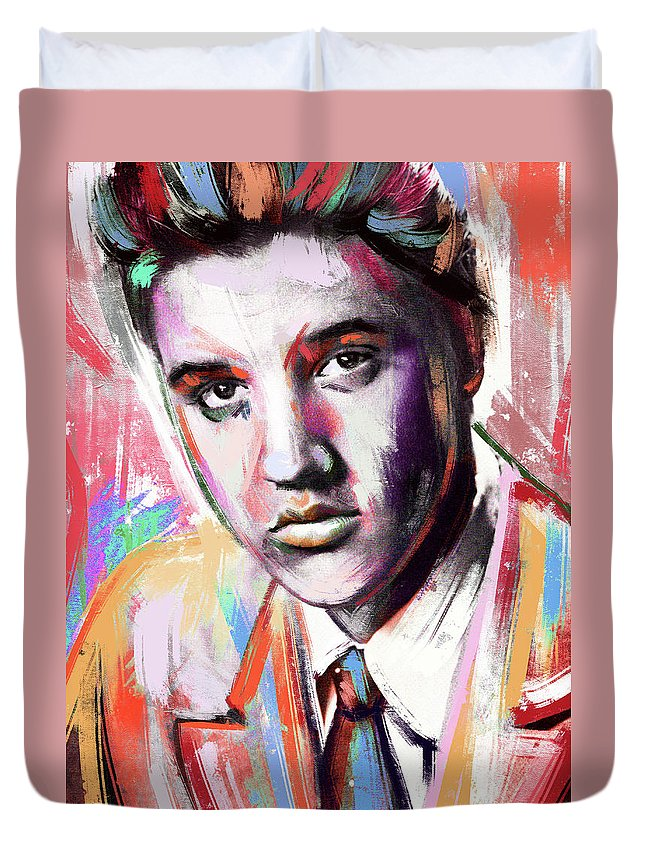 Elvis Duvet Cover featuring the painting Elvis Presley painting by Stars on Art