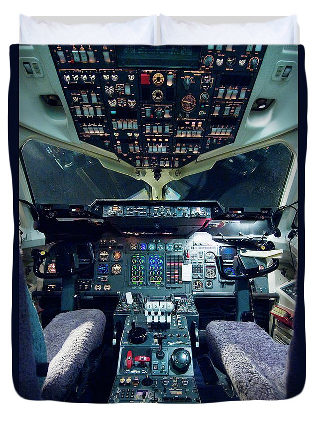 Cockpit Duvet Cover featuring the photograph Empty Aeroplane Cockpit by Moodboard