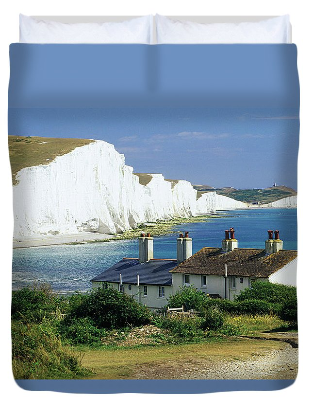 Scenics Duvet Cover featuring the photograph England, Sussex, Seven Sisters Cliffs by David C Tomlinson
