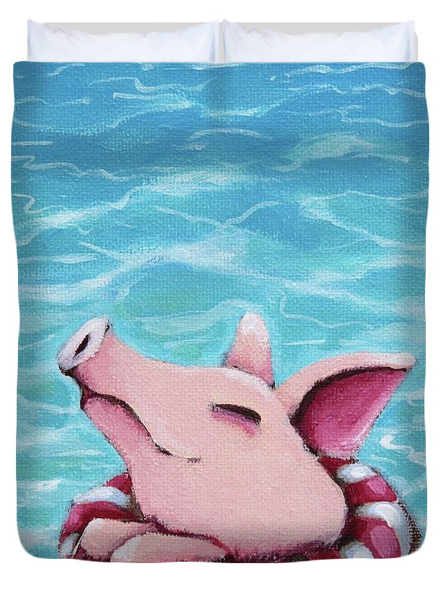 Pig Duvet Cover featuring the painting Enjoying The Water by Lucia Stewart