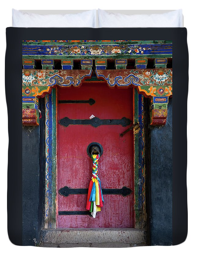 Chinese Culture Duvet Cover featuring the photograph Entrance To The Tibetan Monastery by Hanhanpeggy