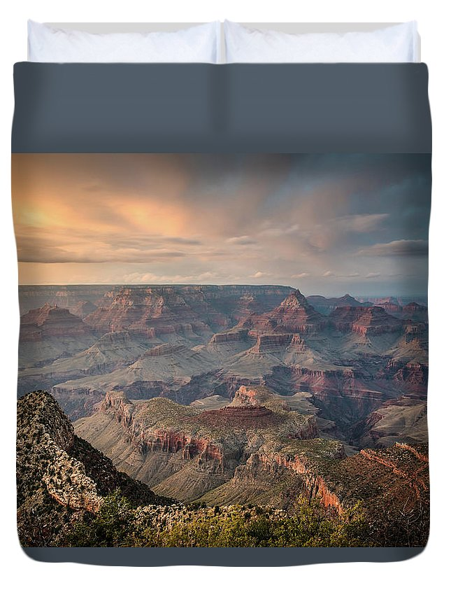 Majestic Duvet Cover featuring the photograph Epic Sunset Over Grand Canyon South Rim by Wayfarerlife Photography