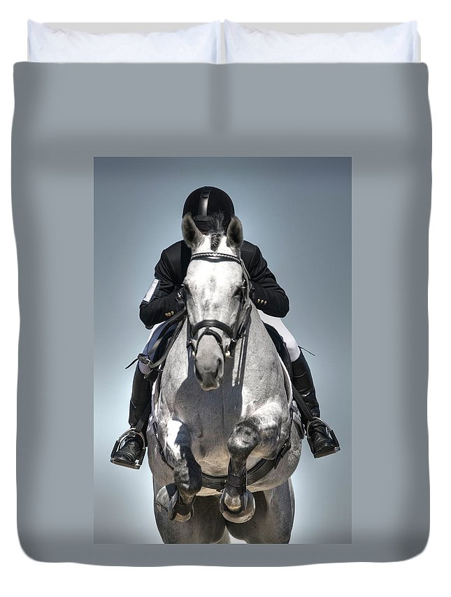 Horse Duvet Cover featuring the photograph Equestrian Jumper by Rhyman007
