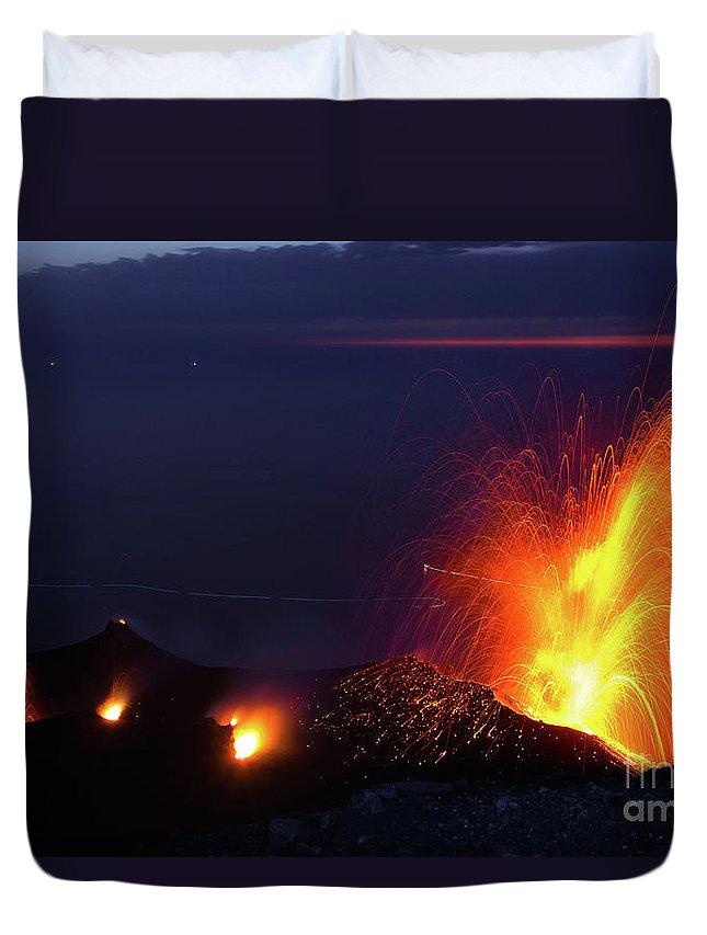 Non-urban Scene Duvet Cover featuring the photograph Eruption Of Stromboli Volcano, Italy by Francesco Sartori