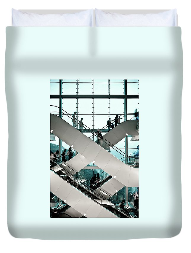 People Duvet Cover featuring the photograph Escalator by Ymgerman