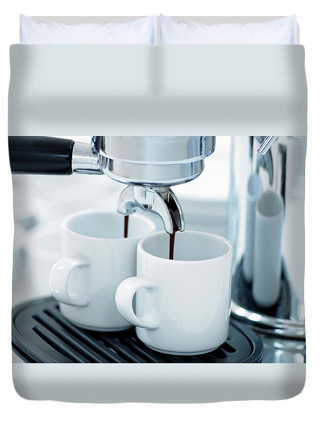 Temptation Duvet Cover featuring the photograph Espresso Machine Making Coffee by Adam Gault