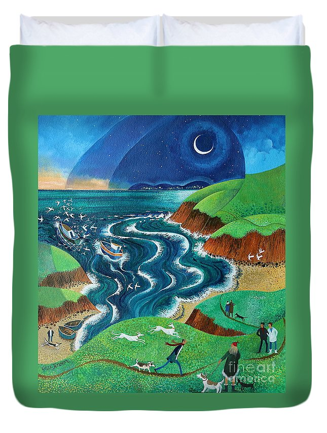 Blue Duvet Cover featuring the painting Evening Sea Breezes by Lisa Graa Jensen