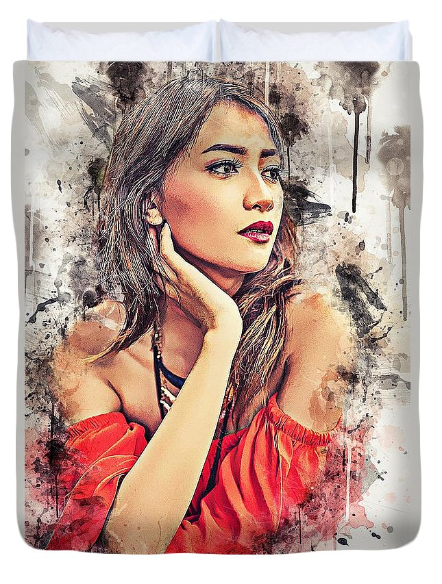 Exotic Duvet Cover featuring the painting Exotic Girl by ArtMarketJapan