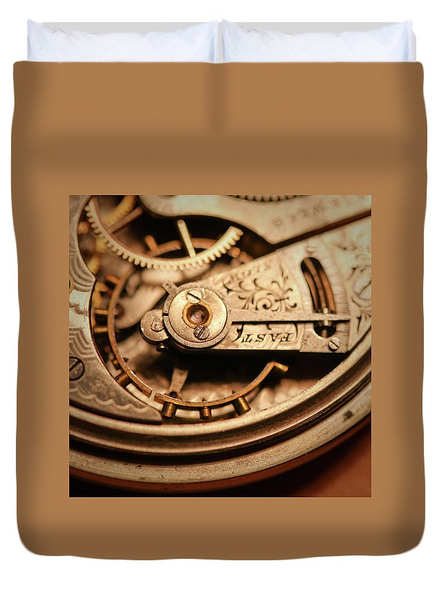 Michigan Duvet Cover featuring the photograph Exposing The Inner Workings And Gears by Rudy Malmquist