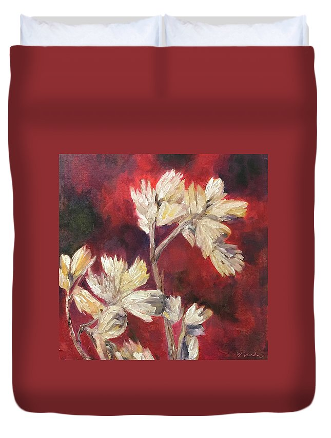 Fall Flowers Duvet Cover featuring the painting Fall Flowers by Vonda Drees