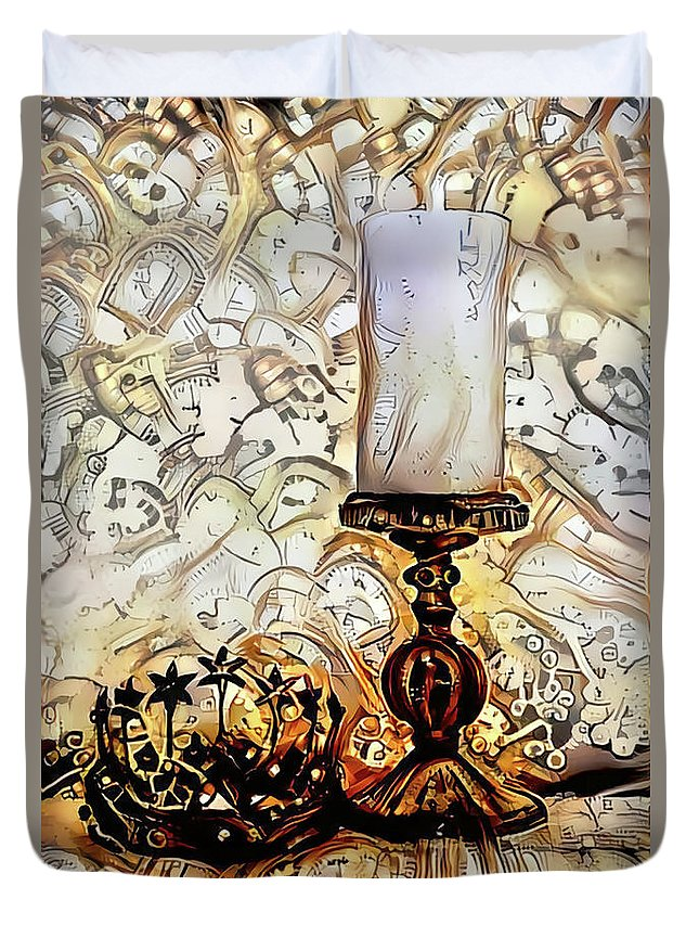 Candle Duvet Cover featuring the digital art Fantasy Candle by Elisabeth Lucas