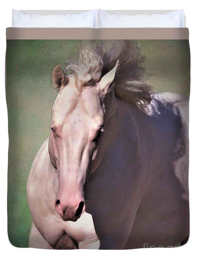 Cremello Quarter Horse Equine Equestrian Western Art Green Teal Dreams Fantasy Duvet Cover featuring the photograph Fantasy In Creme by Barbara Morrison