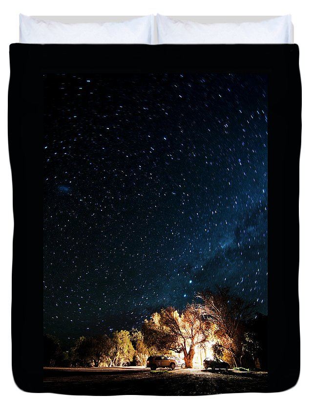 Northern Cape Province Duvet Cover featuring the photograph Farm House And Milky Way by Subman