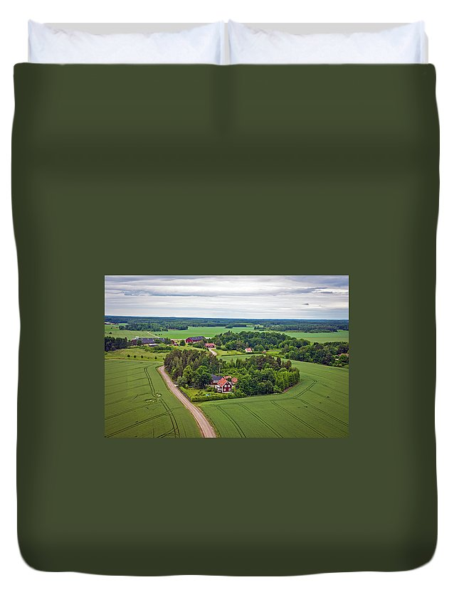 Scenics Duvet Cover featuring the photograph Farms And Fields In Sweden North Europe by Pavliha
