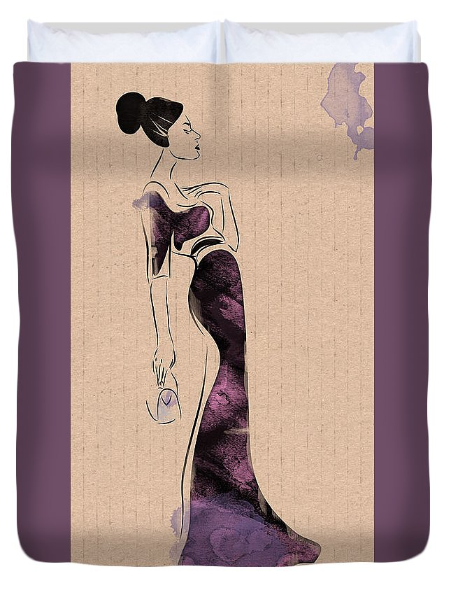 Woman Duvet Cover featuring the drawing Fashion Woman Portrait by Aleks