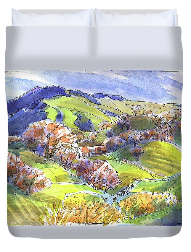 Mount Diablo Duvet Cover featuring the painting February Landscape With Mount Diablo by Judith Kunzle