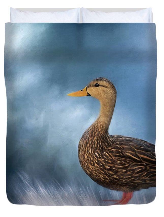 Mallad Duvet Cover featuring the photograph Female Mallard Duck by Kim Hojnacki