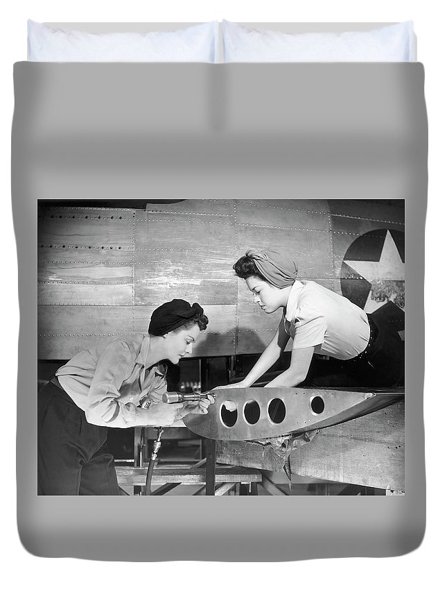 Working Duvet Cover featuring the photograph Female Workers Working On Plane by George Marks