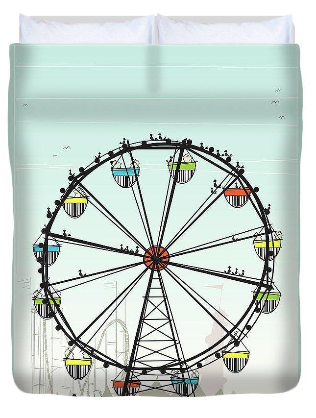 Grass Duvet Cover featuring the digital art Ferris Wheel by Jcgwakefield