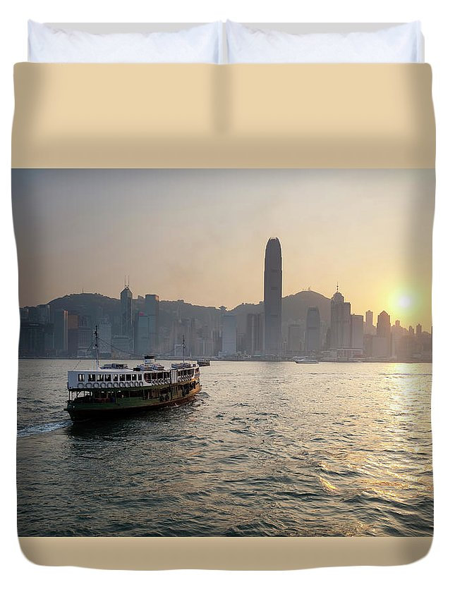 Chinese Culture Duvet Cover featuring the photograph Ferry Boat To Hong Kong by Simonbradfield