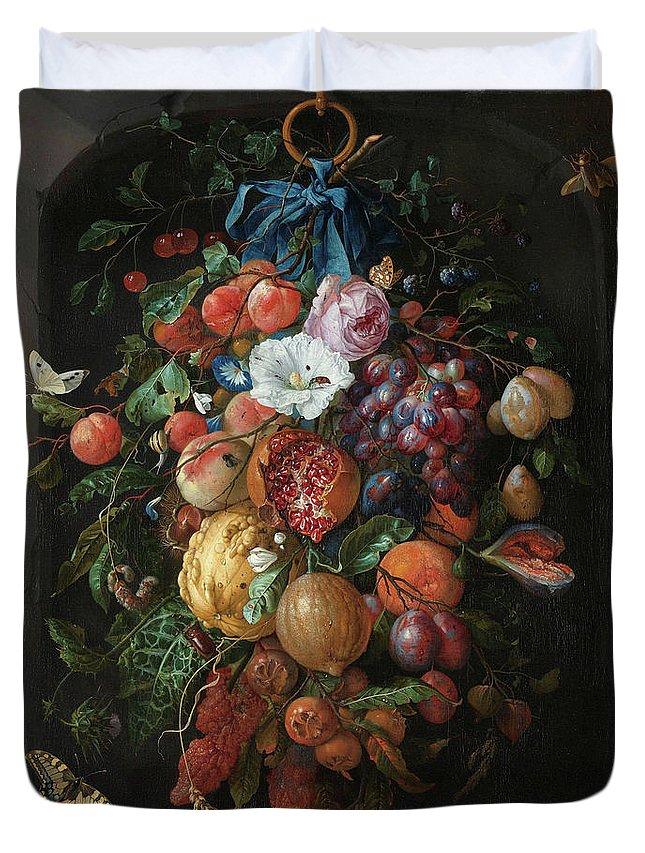 Jan Davidsz De Heem Duvet Cover featuring the painting Festoon Of Fruit And Flowers, 1670 by Jan Davidsz de Heem