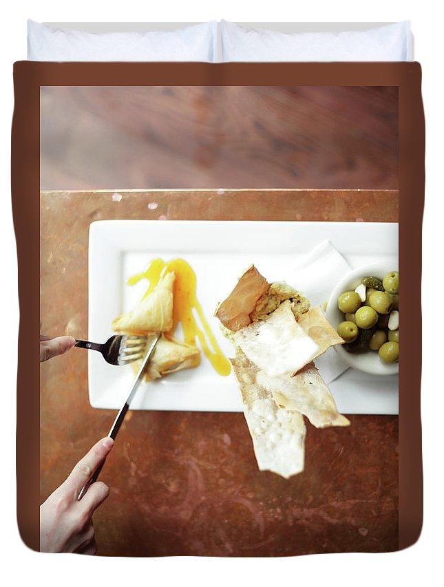 Feta Cheese Duvet Cover featuring the photograph Feta Crisps by Caleb Condit