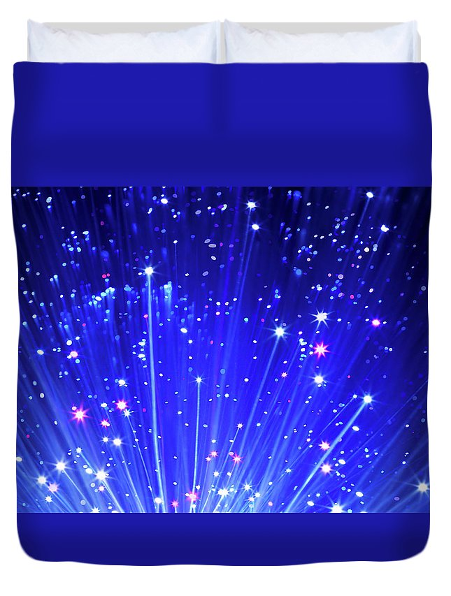 Technology Duvet Cover featuring the photograph Fiber Optic Cables by Gandee Vasan