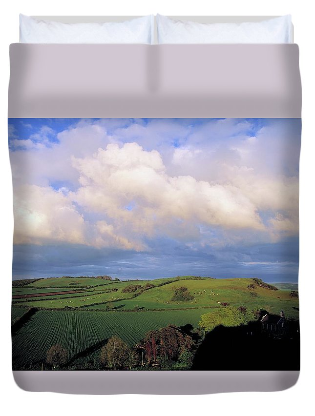 Tranquility Duvet Cover featuring the photograph Fields Around Dunamace, Co Laois by Design Pics