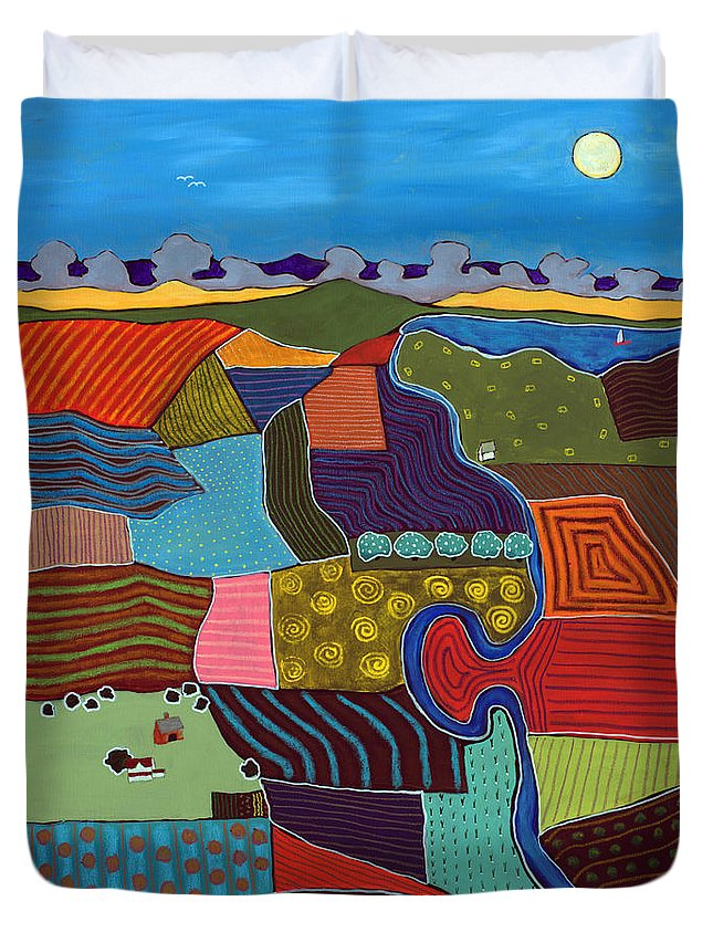 Abstract Landscape Duvet Cover featuring the mixed media Fields by David Hinds