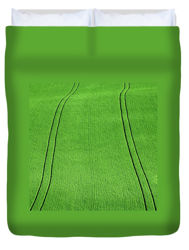 Outdoors Duvet Cover featuring the photograph Fields Of Green by Paul Baggaley