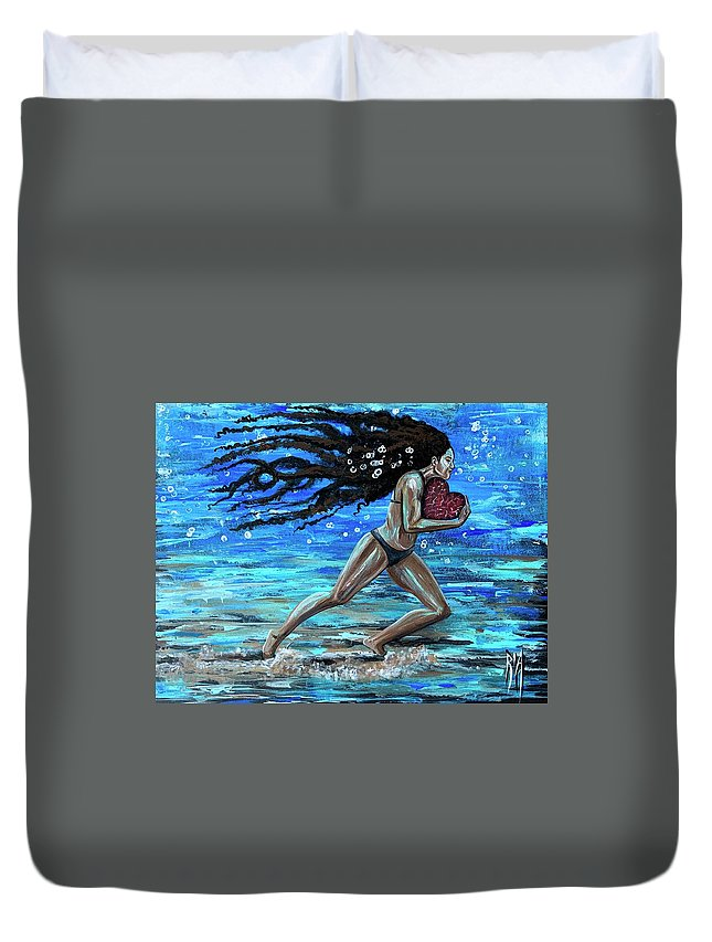 Runner Duvet Cover featuring the painting Fight the fine fight of the faith by Artist RiA