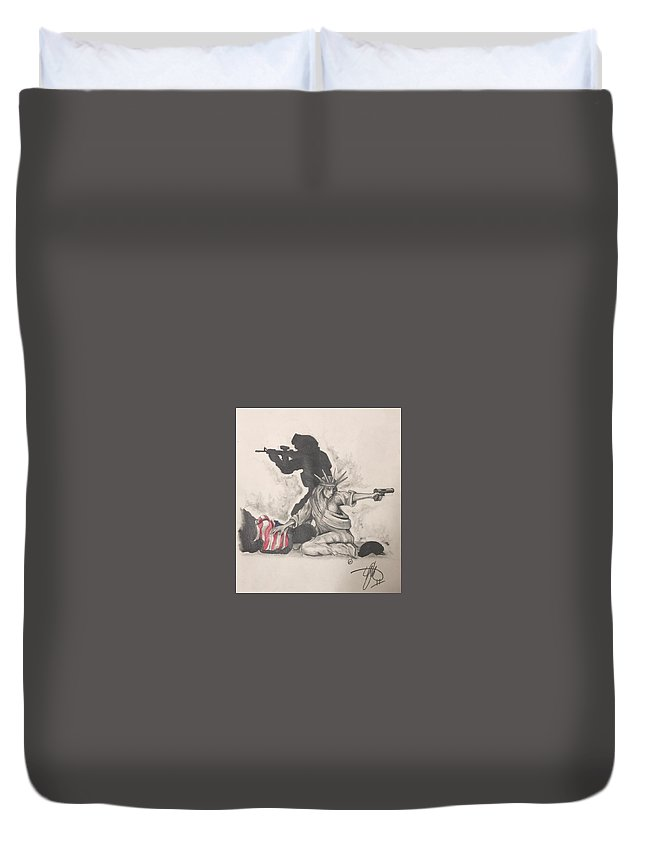 Liberty Duvet Cover featuring the drawing Fighting For Liberty by Howard King