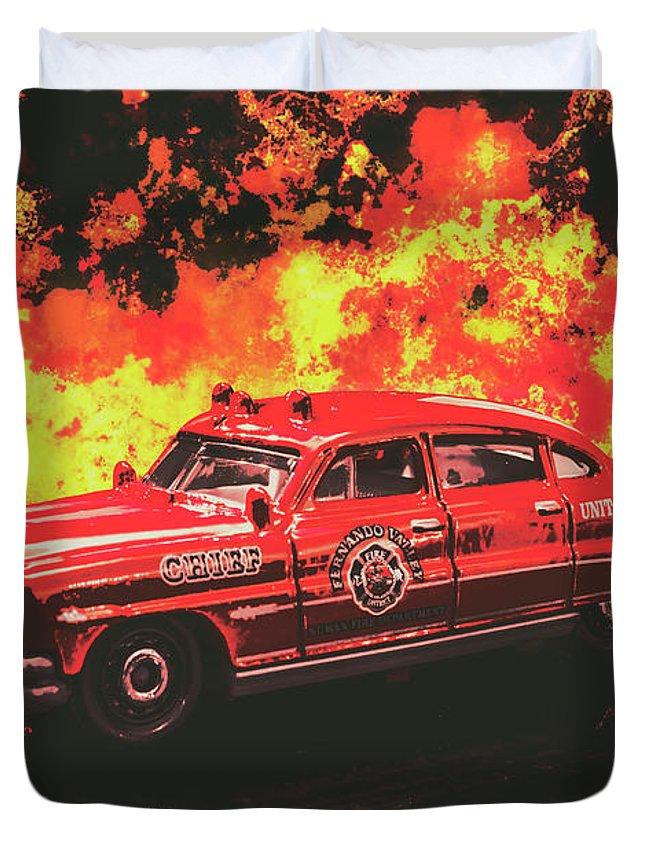Vintage Fire Truck Photographs Duvet Covers