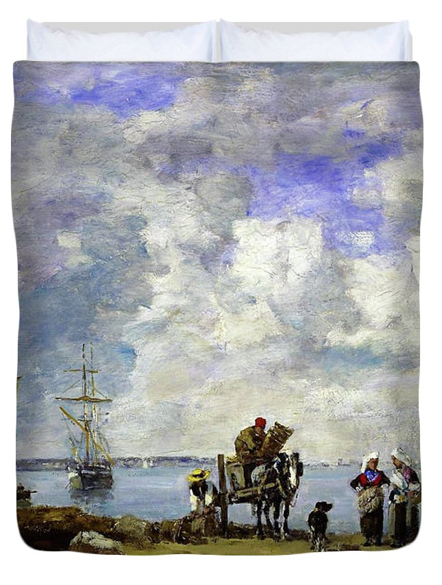 Eugene Louis Boudin Duvet Cover featuring the painting Fishermens Wives At The Seaside - Digital Remastered Edition by Eugene Louis Boudin