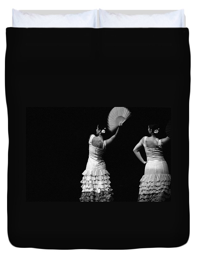 Ballet Dancer Duvet Cover featuring the photograph Flamenco Lace Fan by T-immagini