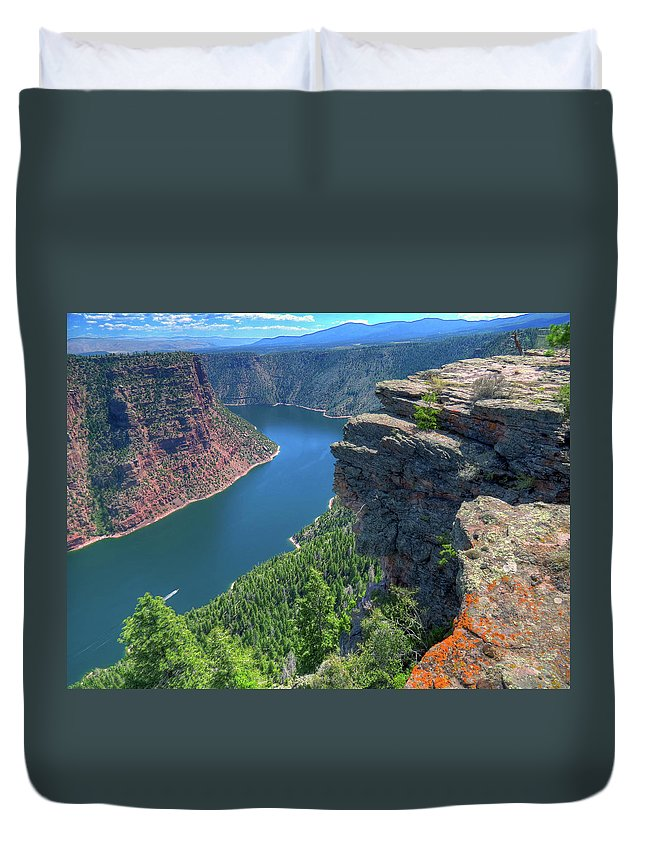 Scenics Duvet Cover featuring the photograph Flaming Gorge by Photo By Bill Birtwhistle