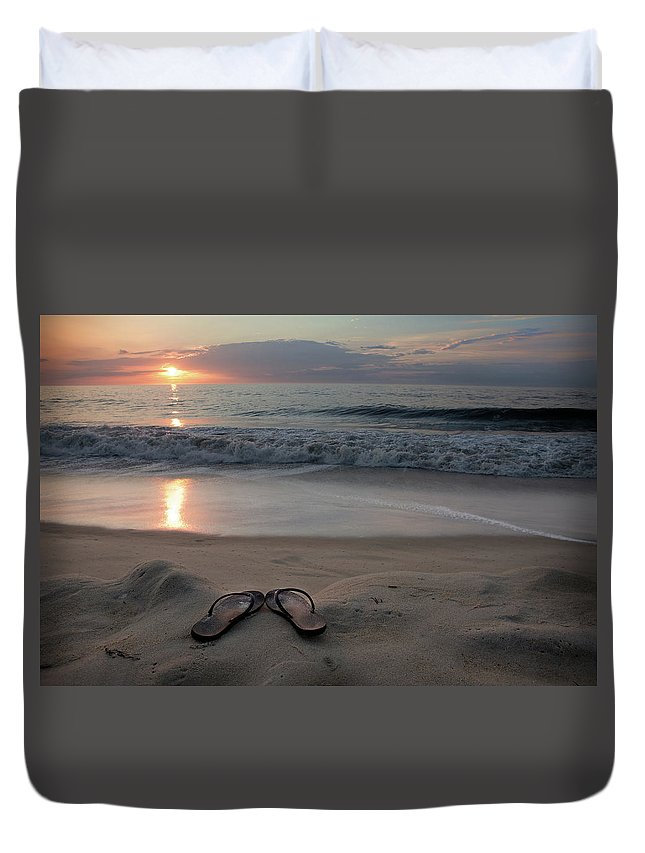 Water's Edge Duvet Cover featuring the photograph Flip-flops On The Beach by Sdominick
