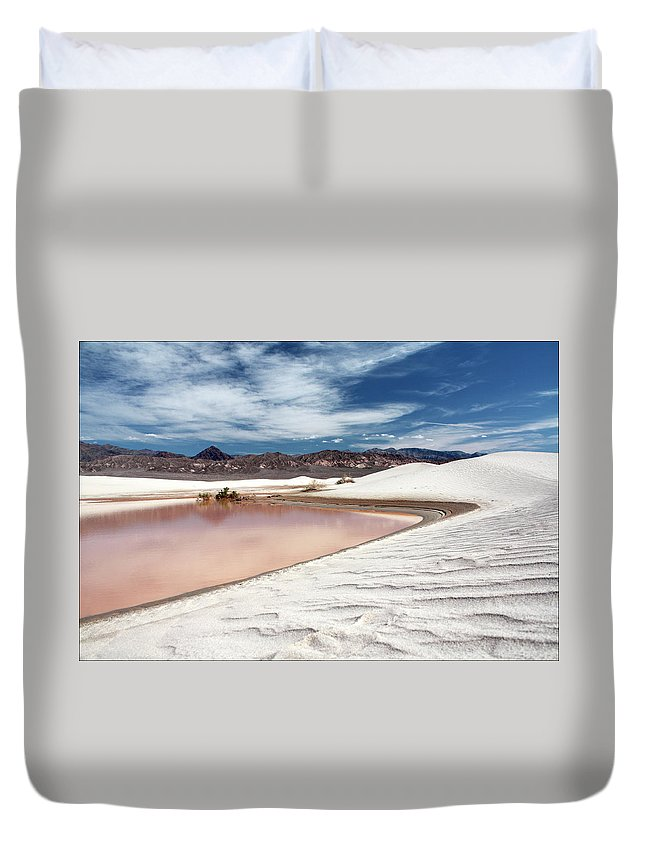 Sand Dune Duvet Cover featuring the photograph Flooded Dunes At Death Valley National by Gary Koutsoubis