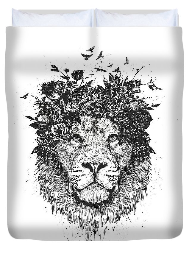 Lion Duvet Cover featuring the drawing Floral lion by Balazs Solti