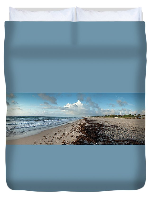 Scenics Duvet Cover featuring the photograph Florida Beach With Gentle Waves And by Drnadig