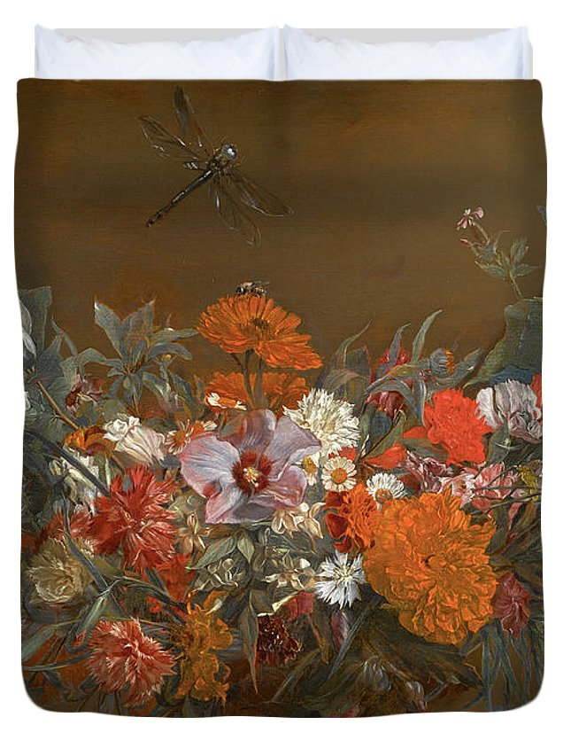 Michaelina Wautier Duvet Cover featuring the painting Flower Garland With Dragonfly by Michaelina Wautier
