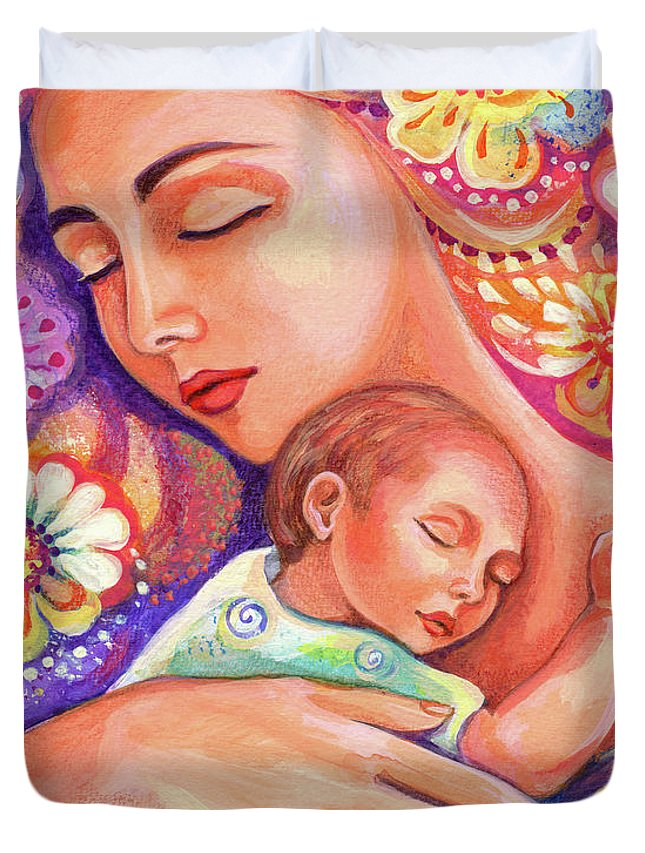 Mother And Child Duvet Cover featuring the painting Flower Nap by Eva Campbell