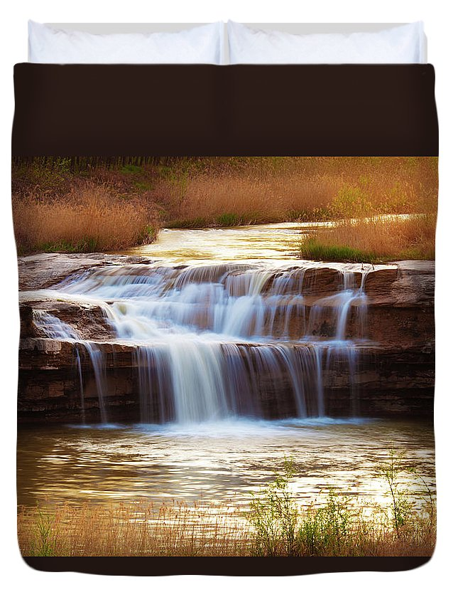 Scenics Duvet Cover featuring the photograph Flowing Water On The Yellow Rock by Xenotar