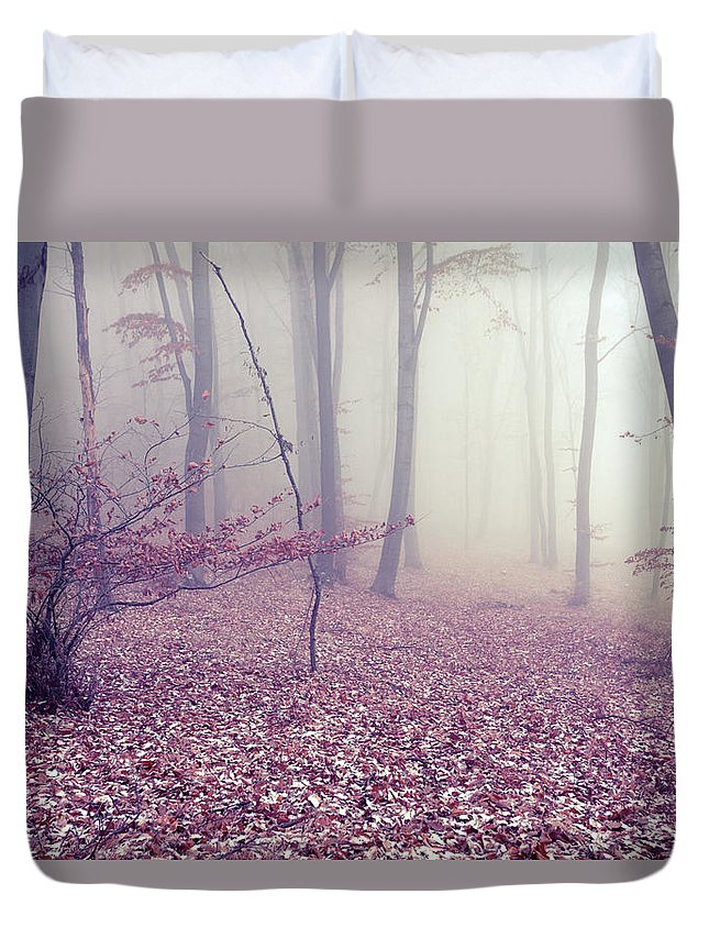 Spooky Duvet Cover featuring the photograph Fog by Floriana
