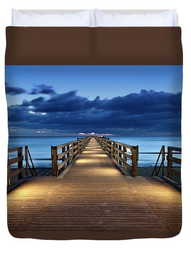 Water's Edge Duvet Cover featuring the photograph Footbridge by Bertlmann