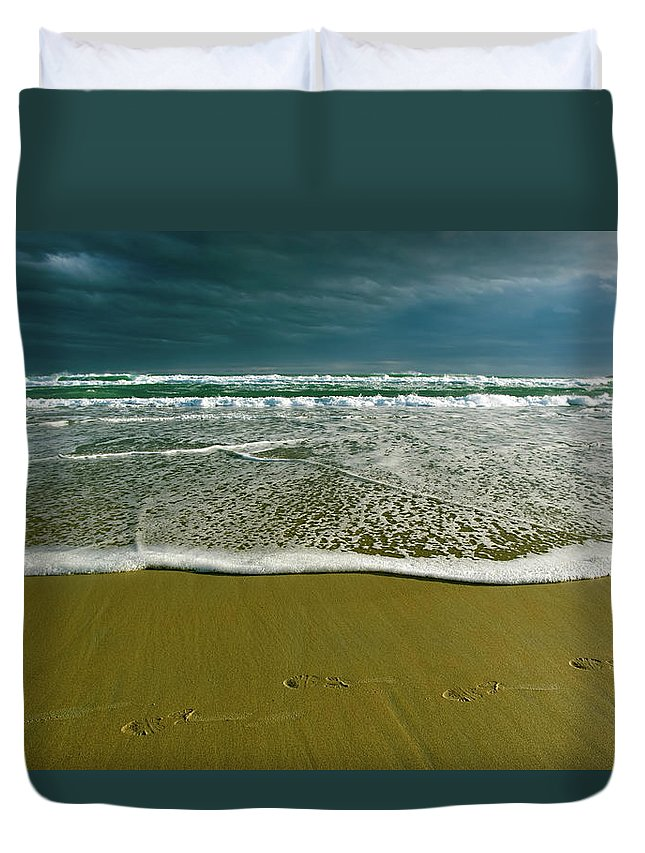 Water's Edge Duvet Cover featuring the photograph Footsteps And Storm Light by Jill Ferry