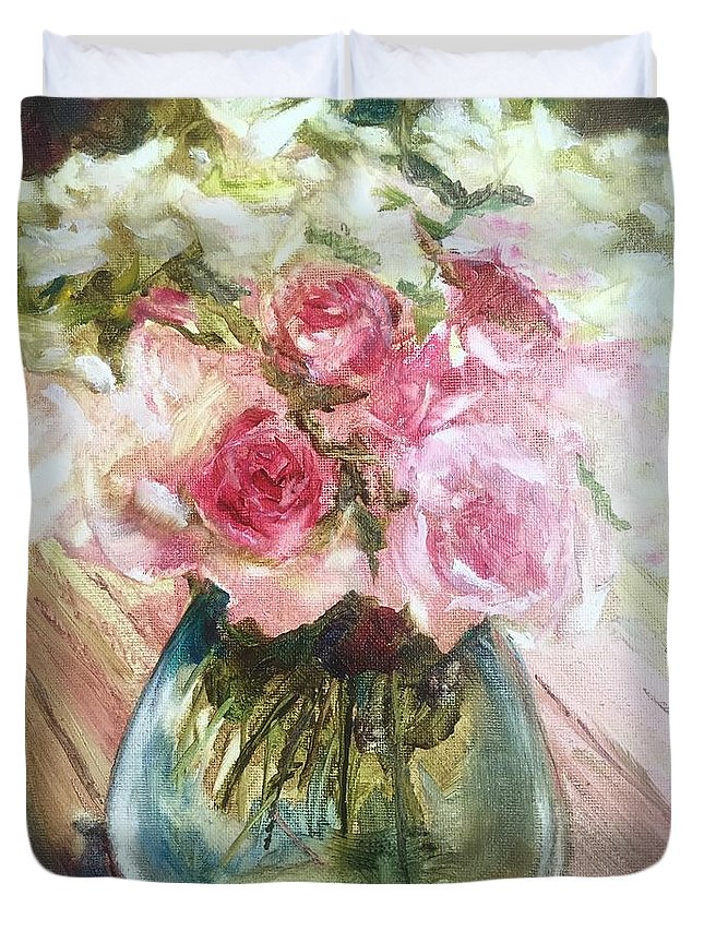 Flowers Duvet Cover featuring the painting Special Friends... by Lizzy Forrester