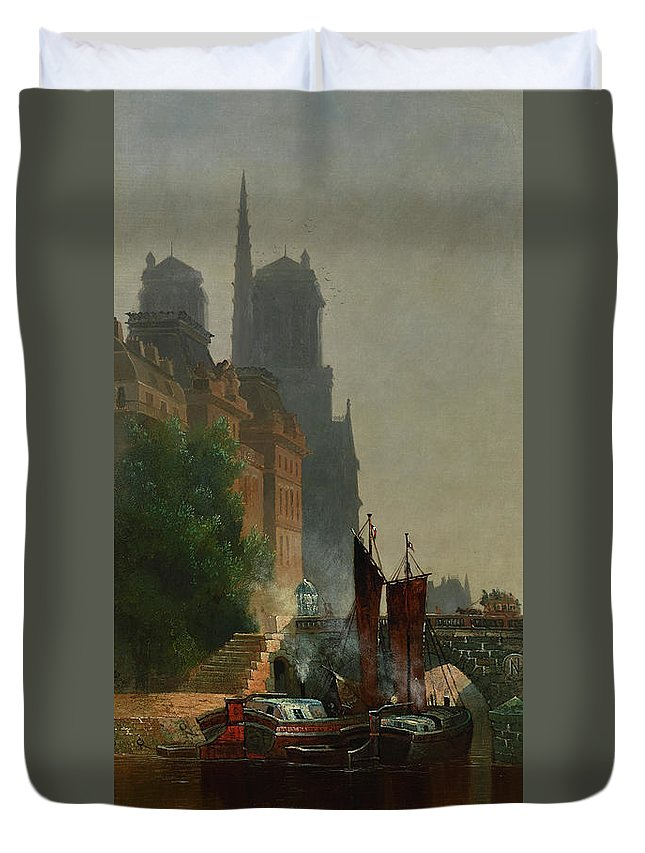 Edwin Deakin Duvet Cover featuring the painting For Notre Dame, Foggy Morning by Edwin Deakin